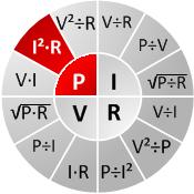 Ohm's chart P=I^2*R