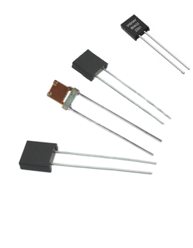 Different metal foil resistors on a white background