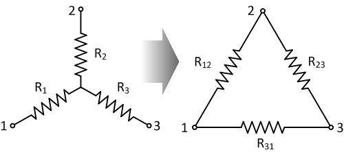 Star connection is often simplified into a delta connection using Kirchhoff's law