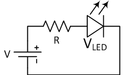 Where V is the source voltage VLED is the LED voltage and I is the LED current.
